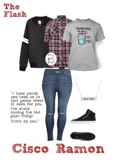 """""""The Flash: Cisco Ramon"""" by curvygeekyfangirl ❤ liked on Polyvore featuring H&M and Supra"""