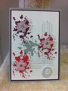 Geburtstagskarte / birthday card - used Gorgerous Grunge, petite petals, flower punch - Stampin Up