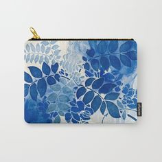 monochrome floral in blue Carry-All Pouch SOLD!thank you!