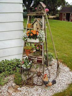 bricolage de jardin: escabeau en bois, plantes et décoration