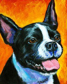 Boston Terrier Art by Dottie Dracos