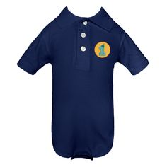 Happy First Birthday Infant Polo Golf Shirt Creepers have striped number one design.  www.inktastic.com