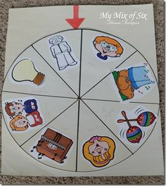 The classic spin the wheel. Just a way to sing a song over and over different ways.