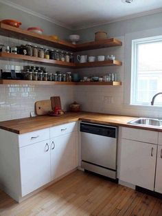 Simple kitchen Shelves - Before & After Mousy Kitchen gets an IKEA Makeover. Rustic Kitchen Decor, Diy Kitchen, Kitchen Interior, Kitchen Ideas, Kitchen Small, Kitchen Wood, Kitchen Sink, Island Kitchen, Small Kitchens