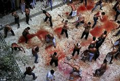 The bloody floor of a mosque in New Delhi, India, as Shiite Muslims flagellate themselves today during a Muharram procession marking Ashura ---- WHY? Just Why? How is this a religion of peace, if you do this to yourself?