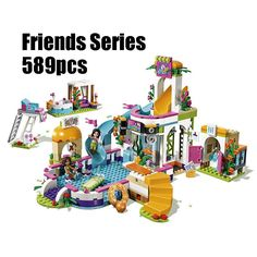 WAZ Compatible Legoe Friends 41313 Lepin 01013 589pcs building blocks The Heartlake Summer Pool Bricks figure toys for children