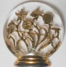Clear Lucite Bowl Pin Filled With Sea-Scape ~ Fish, Shell, Seahorse, Starfish...