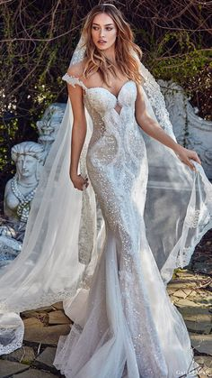 galia lahav bridal spring 2017 off shoulder beaded straps sweetheart trumpet wedding dress (avena) mv -- Galia Lahav Spring 2017 Couture Wedding Dresses