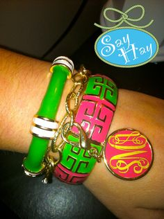LOVE pink and green preppy bracelets.. LOVE my DZ <3 and monogram :)