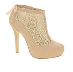 Cute high heels #lace #flower brown