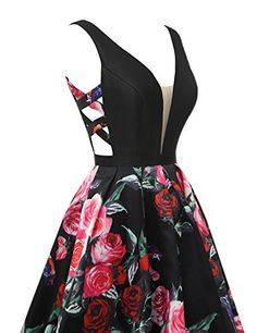 Floral Print Evening Dresses for Women A Line Long Black Prom Ball Gowns - Cute Prom Dresses, Dance Dresses, Elegant Dresses, Pretty Dresses, Homecoming Dresses, Vintage Dresses, Beautiful Dresses, Girls Dresses, Maxi Dresses