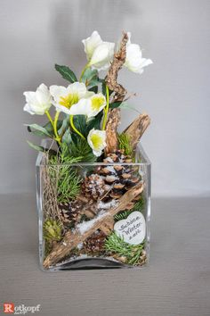 Put into a glass of winter / Christmas decoration, with a mix of natural materials and . - Eventplanung : Put into a glass of winter / Christmas decoration with a mix of natural materials and Christmas Flowers, Winter Christmas, Christmas Crafts, Christmas Decorations, Xmas, Table Decorations, Christmas Ideas, Art Floral Noel, Deco Table Noel