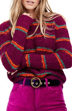 colorful striped sweater for cozy winter style inspiration