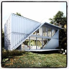 How To Build Box Blind Deer Stand Shooting House-Prefab Shipping Container House Cost Cargo Container Homes, Shipping Container House Plans, Building A Container Home, Storage Container Homes, Container House Design, Shipping Containers, Container Store, Iron Stair Railing, Exterior Stairs