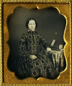 Exquisite-1853-Daguerreotype-of-a-Gorgeous-Lady-in-a-Fabulous-Dress-Dated-Book