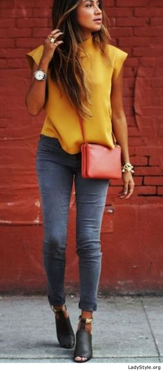 Yellow top, grey jeans and accessories - LadyStyle