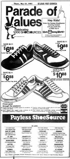 2f477e1d9290d3 Payless ShoeSource (Soon to R.I.P). Celebrating 1000 stores! May 21 1981.