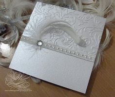 Silver feather wallet invite