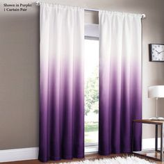 Dainty Home Shades Panel Rod Pocket Set, 40 by Purple - Home Central Products Directory My New Room, My Room, Girl Room, Ombre Curtains, Window Curtains, Blackout Curtains, Window Panels, Shower Curtains, Dream Bedroom