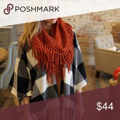 •black and white poncho• Poncho features buffalo check pattern and fringe detail. Material is 100% acrylic.  ❌PRICE FIRM UNLESS BUNDLED❌ RED AND BLACK SOLD OUT, ONLY BLACK AND WHITE AVAILABLE.  ONE SIZE FITS MOST Sweaters Shrugs & Ponchos