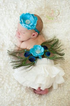 newborn baby girls peacock feather butterfly wings matching flower headband included ready to ship rhinestones. $31.00, via Etsy.