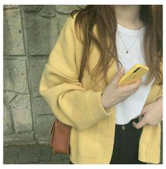 Yellow Aesthetic Pastel, Aesthetic Colors, Aesthetic Clothes, Beige Aesthetic, Look Fashion, Korean Fashion, Fashion Outfits, Ulzzang Fashion, Girl Fashion