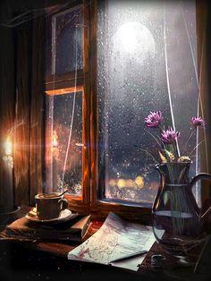 escribir en la noche de lluvia