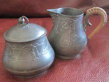 Kayserzinn fuschia floral pewter cream & sugar set - Arts & Crafts period