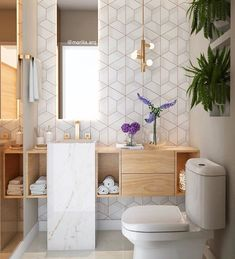I have always loved the use of geometric tiles but this is definitely one of the most beautiful feature walls yet 🌟 Bathroom Interior Design, Decor Interior Design, Interior Design Living Room, Interior Decorating, Gold Interior, Beautiful Bathrooms, Modern Bathroom, Small Bathroom, Warm Bathroom
