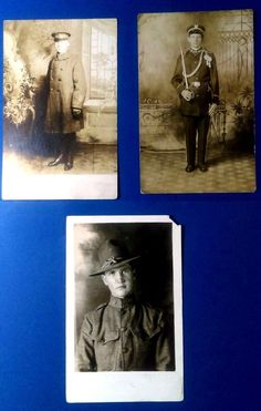 """""""3"""" Real Photo Postcards WW1 soldiers Lot#2 - excellent"""