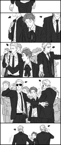 Chen with his two bodyguards Fanart Bts Memes Hilarious, Funny Facts, Exo Anime, Fanart Bts, The End Is Near, Exo Couple, Exo Fan Art, Photo Dump, Funny Comics