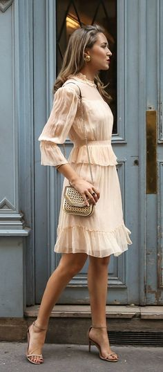 30 Dresses in 30 Days | Day 14: What to Wear to a Baptism // Light nude apricot ruffle flounce trim long sleeve short dress, tan metallic woven shoulder bag, nude strappy open toe sandal heels {See by Chloe, Stuart Weitzman, Stella McCartney, classic style, formal outfit, fancy}