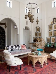 White moroccan living room