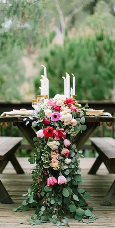 Elevate a simple picnic table setup with a drop-dead gorgeous floral table runner.
