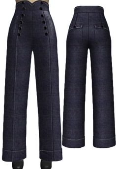 Vintage Fashion Jeans by Amber Middaugh -- I'd need to work on flattening my stomach area, but I think these are a really sharp looking style. Retro Outfits, Vintage Outfits, Cool Outfits, 1940s Fashion, Vintage Fashion, Fashion Pants, Fashion Outfits, Mode Vintage, Pants Pattern