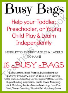 Busy Bag Bundle from AllOurDays on TeachersNotebook.com (87 pages)  - Help Toddlers, Preschoolers & Young Children Play Independently with Busy Bags