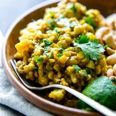 Quick weeknight comfort food. Chana Dal with Cauliflower, Cashews and Coconut Milk.
