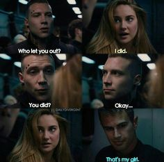 """honestly that's one of my fav parts of the movie ngl eric's just like """"huh okay cool"""" and fours face suggests that thought Divergent Theo James, Divergent Four, Divergent Trilogy, Divergent Insurgent Allegiant, Insurgent Quotes, Tobias, Divergent Jokes, Divergent Hunger Games, Divergent Fandom"""