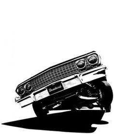 Chevy Impala on 3 Chevrolet Camaro, 63 Chevy Impala, Arte Lowrider, Lowrider Trucks, Hydraulic Cars, Arte Hip Hop, Rap, Car Tattoos, Chicano Art