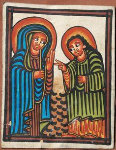 Ethiopian Leather Painting Announcement to Virgin African Art Ethiopie Icon | eBay