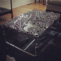 this would be an awesome coffee table! Its made out of Auto Parts lol  |  dfprecision.com  #autoparts