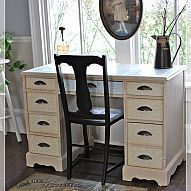 """Decoupage Desk Project This desk was black when I bought it for $35. It was too dark so I painted it white, then I painted it """"Tortilla"""" by Martha Stew..."""