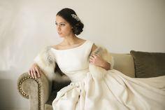 Vestido de novia en rústico de seda.
