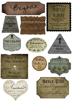 Free Printable Harry Potter Potion labels! just in case i ever do this for one of Ezra's birthdays.