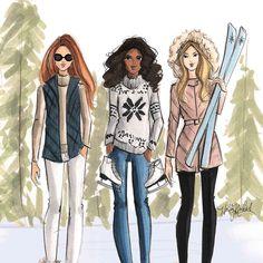 """Which way to the chalet? #fashionsketch #fashionillustration #fashionillustrator #boston #bostonblogger #bostonillustrator #copic #copicmarkers #ski…"""