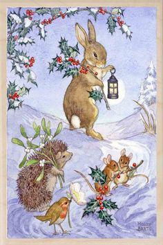 Molly Brett: English bun, hedgehog, mice, and robin carrying holly, mistletoe and Christmas rose by lanternlight.
