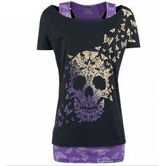 FISACE Women's Butterfly Skull Print Short Sleeve Tunic T Shirt Tops Purple brSize measurement:br/pbrS------Bust T Shirt Top, T Shirt And Shorts, Tank Shirt, Racerback Tank, Skull Shirts, Casual T Shirts, Look Cool, Printed Shirts, Dame