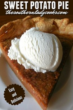 Sweet Potato Pie is one pie you will make over and over again! This pie is perfect for the holidays and never lasts long. A great dessert anytime. Great Desserts, Best Dessert Recipes, Pie Recipes, Fall Recipes, Delicious Desserts, Pudding Recipes, Potato Pudding, Potato Pie, Southern Recipes