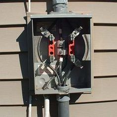 How to Wire an Electric Meter: Connect the Feeder Wires Home Electrical Wiring, Electrical Installation, Electrical Outlets, Electric Utility, Electric House, Electrical Troubleshooting, House Wiring, Electrical Connection, Solar Projects