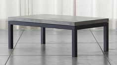 Durable, matches any combo of furniture. Parsons Rectangular Coffee Table with Concrete Top | Crate and Barrel
